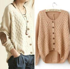 Beige Long Sleeve Elbow Contrast Leather Sweater