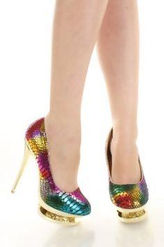 Rainbow Brite!  Multicolor Faux Leather Snake Glitter Stack Platform Pump Heels