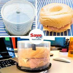 Put an old CD-ROM storage tower to good use by turning it into the perfect container for your bagel sandwiches and say goodbye to a squished lunch! #KitchenTip