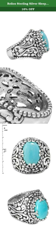 Relios Sterling Silver Sleeping Beauty Turquoise Filigree Vintage Design Ring. Beautiful, comfortable, and unique - this exquisite turquoise and sterling silver treasure is a true jewelry collectible! A large oval cabochon of clear blue turquoise from Arizona's famed Sleeping Beauty mine is prong-set in a sterling silver filigree vintage design. The depth and detail of the sterling silver is accentuated by oxidation, perfectly complementing this glowing turquoise stone. Ring measures 7/8...