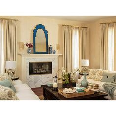 Roxy Hollywood Regency Blue Glass Frame Gold Trim Arch Mirror | Kathy Kuo Home Arch Mirror, Mirror Image, Blue Wall Mirrors, Orb Pendant Light, Diy Interior, Gold Wood, Image House, Hollywood Regency, Living Room Inspiration