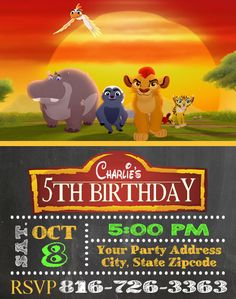 Lion Guard Birthday Party Invitations Custom Personalized for sale online Lion Party, Lion King Party, Lion King Birthday, 5th Birthday Party Ideas, Kids Birthday Party Invitations, 3rd Birthday, Birthday Thank You Cards, Le Roi Lion, Personalized Invitations