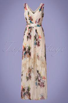 Little Mistress Ava Flower Bouquet Maxi Dress Années 70 en Crème 119€95  Robes Des 4a18b00b029