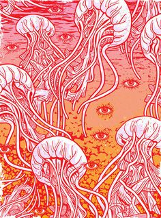Pyschedelic Jellyfish by Gigart on Etsy