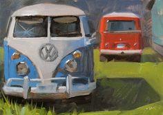 "Daily Paintworks - ""Old Trippers"" - Original Fine Art for Sale - © Carol Marine Sketch Painting, Car Painting, Paintings I Love, Original Paintings, Oil Paintings, Landscape Paintings, Bicycle Painting, Truck Art, Art Walk"