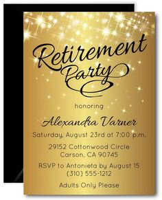 Invitation for Retirement Party Lovely Sparkly Gold Retirement Invitation – Announce It Retirement Party Invitations, Wedding Party Invites, Retirement Parties, Wedding Invitation Cards, Birthday Invitations, Invitation Maker, Invitation Wording, Invitation Ideas, Gold Invitations