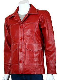 The exact replica of the Red Leather Jacket that Tyler Durden (Brad Pitt) wore in the movie Fight Club. Our replica is made with the finest leather there is. We've left it at your disposal whether you