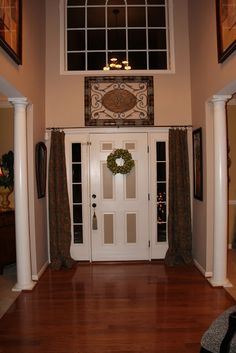 An Option For Curtains Over Those Windows Next To The Front Door   Add Some  Privacy