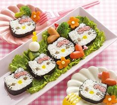 Hello Kitty Sushi - I am going to try to make these for Kammy's birthday party!  I already bought the Hello Kitty rice molds.