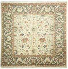 This beautiful Handmade Knotted Square rug is approximately 8 x 8 New Contemporary area rug from our large collection of handmade area rugs with Persian Sultanabad style from Egypt with Cotton