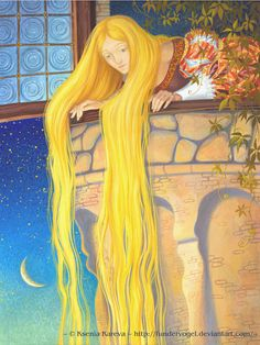 Rapunzel illustration 1 by FunderVogel on deviantART Rapunzel Story, German Fairy Tales, Classic Fairy Tales, Brothers Grimm, Fairytale Art, Cool Sketches, Fantasy Characters, Amazing Art, Illustration Art