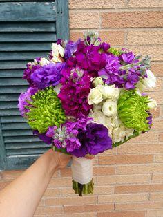 #PurpleWedding #BridalBouquet featuring #GreenSpiderMums #WhiteRanunculus #PurpleStock and #PurpleLisianthus created by #LexingtonFloral in Shoreview, MN  #MNwedding #MNflorist