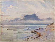 """San Vigilio, Lago di Garda,"" John Singer Sargent, ca. 1913, watercolor, 15 1/4 x 19 7/8"", Palmer Museum Collection."