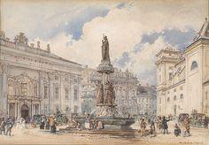 Wien, Freyung mit Austriabrunnen, signiert und datiert.   Rudolf von Alt (1812–1905)   http://commons.wikimedia.org/wiki/Category:Rudolf_von_Alt