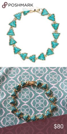 "Kendra Scott Ripley in Turquoise Natural veining turquoise and gold metal. Excellent condition. I've worn this only a handful of times. Everything is perfect except a tiny smudge spot on the clasp. From the 2015 ""Via Maya"" collection. 7"" long bracelet. Comes with dustbag. No tags. Will consider offers. Can also sell on merc and 🅿🅿. Kendra Scott Jewelry Bracelets"