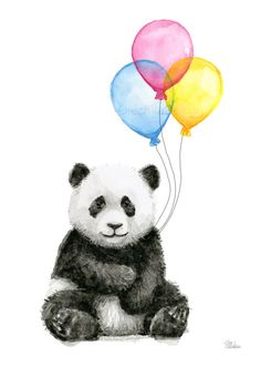 Baby Panda Balloons Nursery Watercolor Animals Wall Art Decor by OlechkaDesign