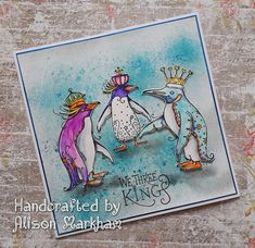 Love these penguins from Pink Ink Designs We Three Kings, King Penguin, Lavinia Stamps, Ink Stamps, Animal Cards, Christmas Cards, Christmas Ideas, Stamping Up, Handmade Christmas