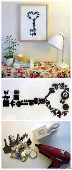 Recycling keys & some metal findings ~ Adding a coat of paint & framing it to make a cool piece of art ~ Really unique idea! ~