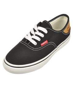 """Levi's Boys """"Jordy Buck"""" Low-Top Sneakers (Youth Sizes 11 – 3) $19.99  These comfy, classic Levi's sneakers are just the go-anywhere look he requires. A low-profile design, they feature a reinforced rubber outsole and grippy sole. The faux leather heel panel is printed with a heritage logo."""
