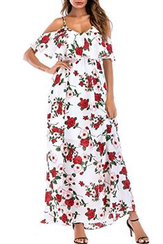 online shopping for SUNNOW Women s Ruffle Cold Shoulder Floral Summer  Spaghetti Strap Maxi Long Dress from top store. See new offer for SUNNOW  Women s ... ce938d0dcc