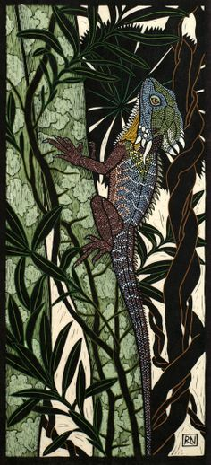 Rainforest Dragon 74.5 x 34 cm    Edition of 50 Hand coloured linocut on handmade Japanese paper $1,200