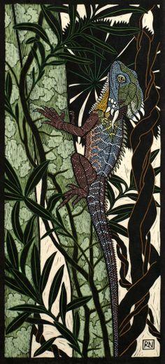 Rainforest Dragon74.5 x 34 cm  Edition of 50Hand coloured linocut on  handmade Japanese paper.   Rachel Newling