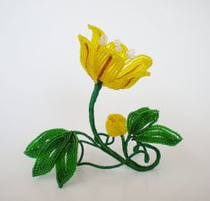 Cup of Gold - French Beaded Flower.