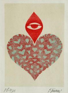 """Heart"" The Czech female artist Ludmila Jirincová (1907-1985), student of Professor Tavik František Šimon"