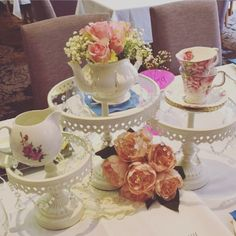 Wedding High Tea table centrepieces styled by Tickled Pink Celebrations Sydney
