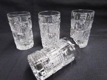 Vintage Cut Crystal Liquors | Art Deco Geometric Circles Squares Stemware Barware - Etagere Antiques, Vintage, Collectibles