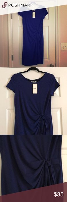 Leota jersey sheath dress New with tags – never worn! Gorgeous royal blue color. Stretchy jersey material dress with with round neck, cap sleeves. Ruching with side tie. Knee length. Leota Dresses