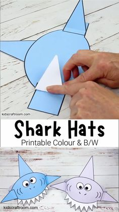 This Shark Hat Craft is so cool! The printable shark craft template comes in 3 fun colours and B/W. It's the perfect shark craft for Summer and Shark Week! #kidscraftroom #kidscrafts #sharkcrafts #sharks #sharkweek #sharkactivities #printablecrafts Hand Crafts For Kids, Summer Crafts For Toddlers, Toddler Crafts, Creative Arts And Crafts, Preschool Activities, Art For Kids, Shark Hat, Insect Crafts, Hat Crafts