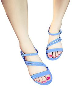 f9f36ad5e257f7 Baifern Womens Candy Color Flats Gladiator Sandals -- Visit the image link  more details.