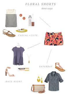 Floral shorts, three ways