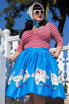 Pinup Couture Jenny 1950's Style Skirt in Mary Blair Planes Border Print | Pinup Girl Clothing