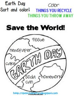 Earth Day: Color and Sort! -  Pinned by @PediaStaff – Please Visit http://ht.ly/63sNt for all our pediatric therapy pins