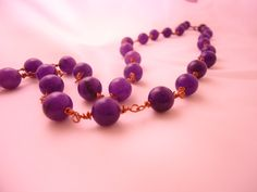 Collana handmade in rame e perle di marmo viola  #necklace #accessories #hadmade