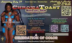 Web flyer (back) for ChromaToast - July 27 - Atlanta, GA USA Dyamond in the back! Ga Usa, Body Painting, Female Models, Crowd, Atlanta, Bodypainting, Body Paint, Girl Models, Women Models