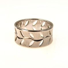Estate 14k White Gold Modernist Band Ring Cut Out Vine Pattern #vbantiquejewelry