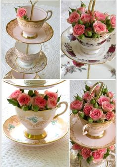 I love this tea cup cake stand idea for a tea party wedding theme!