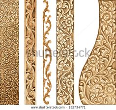 Pattern of flower carved on white background - stock photo