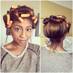 """Quick flexirod set before dinner. This is how I set my Flexirods at night as well. I use 5 total- 3 in the front and 2 in the back. I brush my hair up and roll the 2 back ones ok top of my head to keep the volume. When my hair was shorter I used one of those soft scrunchies from the 80s so it didn't leave a dent. Put my hair in a high pony and pin curled the pony and the front section.  oh and I put on my silk scarf  #flexirods #maintainingstraighthair #volume #curls"" Photo taken by…"
