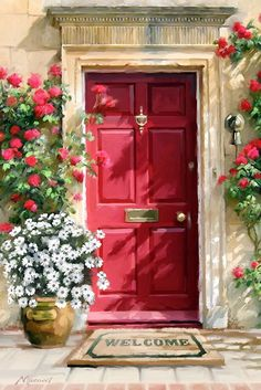 Front Door Paint Colors - Want a quick makeover? Paint your front door a different color. Here a pretty front door color ideas to improve your home's curb appeal and add more style! Best Front Door Colors, Best Front Doors, Front Door Paint Colors, Painted Front Doors, Doorway, Windows And Doors, Red Doors, Painting Inspiration, Watercolor Art