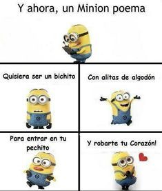 Image about love in Minion by ClaraaaCB on We Heart It Funny Spanish Memes, Spanish Humor, Minion Poemas, Love Languages, Pretty Words, Love Memes, Twisted Humor, 3d Character, Disney Fun