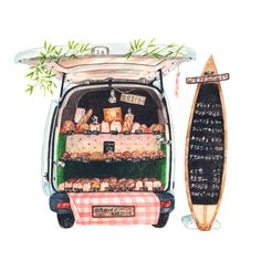 patternsandportraits: No.76 - Bread and coffee truck on our way to Enoshima. Illustration by Justine Wong of Patterns and PortraitsFind me on instagram / store / portfolio