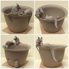Fresh out of the studio today .another mice yarn bowl. This item is a made to order item at earthwoolfire. Ceramics Projects, Clay Projects, Clay Crafts, Pottery Plates, Ceramic Pottery, Pottery Art, Vase Deco, Sculptures Céramiques, Clay Bowl