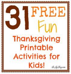 31 FREE Printable Thanksgiving Activities at AliLilyBlog.com