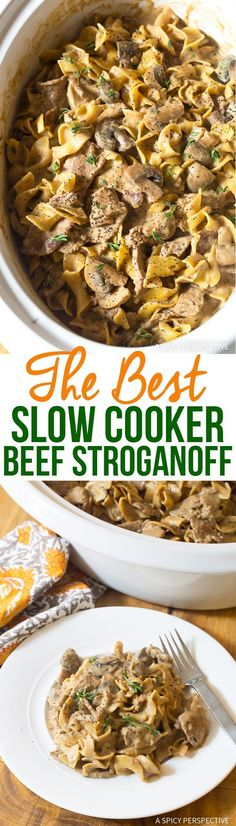 The Best Slow Cooker Beef Stroganoff Recipe Easy Crock Pot Beef Stroganoff you can make in your Instant Pot or MultiCooker Bold flavor silky texture via spicyperspectiv Best Slow Cooker, Crock Pot Slow Cooker, Crock Pot Cooking, Pressure Cooker Recipes, Slow Cooker Beef Stroganoff Recipe, Crock Pot Stroganoff, Easy Dinner Recipes, Easy Meals, Crockpot Recipes
