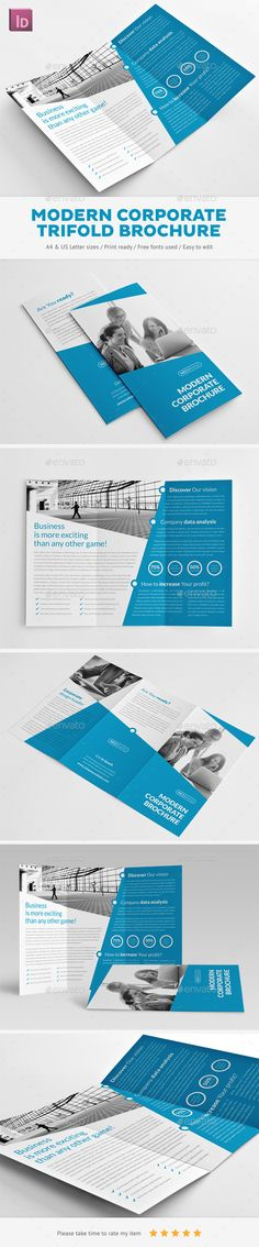 Modern Corporate Trifold Brochure - Corporate Brochures