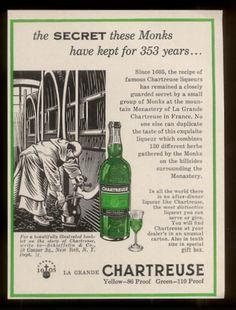 Vintage Chartreuse liqueur ad Green 1958
